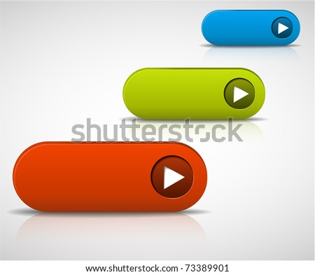 set of empty buttons - red, green and blue