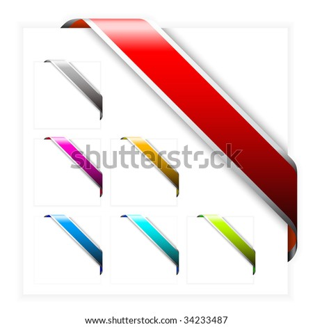 Set of Empty colorful corner ribbons with white stripes - you can write some text on it (sale, new, sold, free, hot, etc)