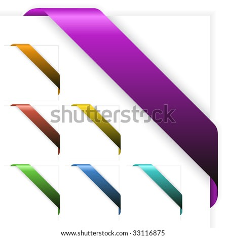 Set of Empty colorful corner ribbons - you can write some text on it (sale, new, sold, free, hot, etc)