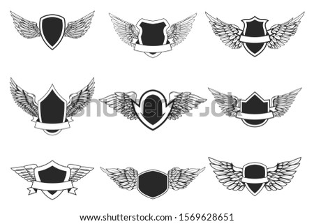 Set of empty emblems with wings isolated on white. Design element for logo, label, emblem, sign. Vector illustration