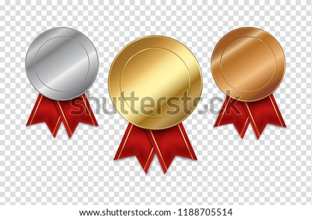 Set of empty medals gold silver and bronze on transparent background vector illustration
