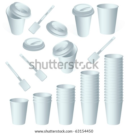Set of empty paper coffee cups vector isolated on white