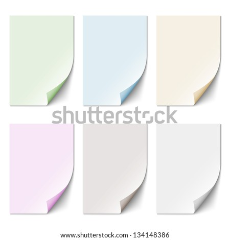 Set of empty paper sheet in pastel colors. Vector EPS10