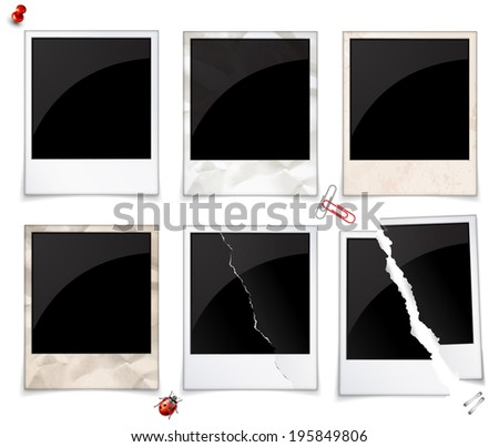 Set of empty polaroid photo frames