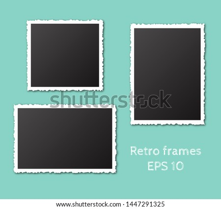 Set of empty retro frames with shadows isolated on blue background. Vintage torn paper empty snapshot photography template. Vector illustration.