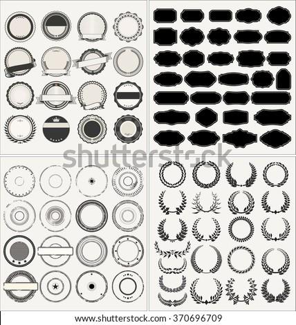 Set of empty retro vintage frames, laurels, badges and stamps