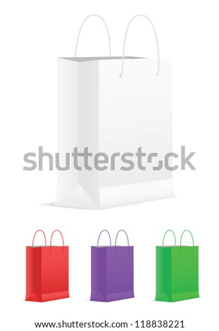 Set of Empty Shopping Bags. Vector illustration