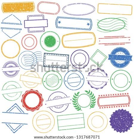 Set of Empty Stamp. Vintage Frames. Grunge Postal Design. Icon Art Vector. Old Style.