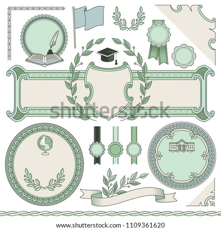 Set of empty templates for design of diploma or education certificate. Vintage frames, corners, decorative elements and symbols isolated on white background.