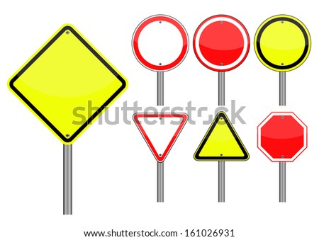 set of empty traffic sign