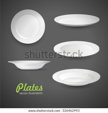Set of empty white plate on the grey background