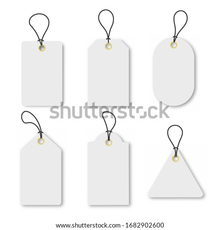 Set of empty white sale or price tags in different shapes with gold circles. Set of blank labels for discount, sale, price tags. Vector illustration eps 10 Photo stock ©