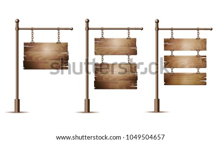 Set of Empty wooden signboards hanging on a chain isolated on white. Vector illustration