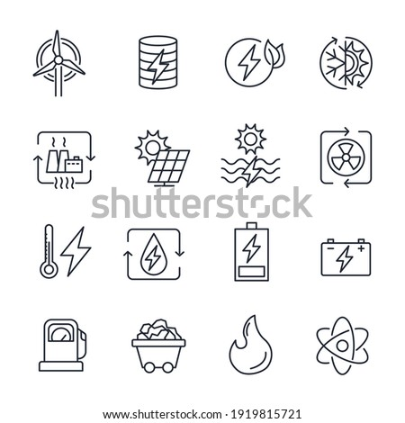 Set of Energy Types icon. Hydroelectric Power Station, Solar Cells and more. Energy Types pack symbol template for graphic and web design collection logo vector illustration