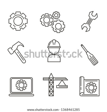 Set of engineering icon with outline design. Engineering vector illustration