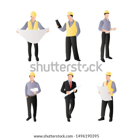 Set of Engineering People. Professional Engineer Technician and Builders Construction Worker. Flat Cartoon Vector Illustration in Colored Style. - Vector