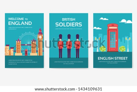 Set of England country ornament travel tour concept. London traditional, magazine, book, poster, abstract, element. Vector decorative ethnic greeting card or invitation design