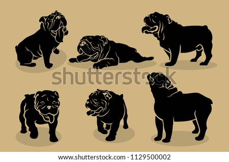 Set of English bulldog silhouettes - vector illustration Stock photo ©
