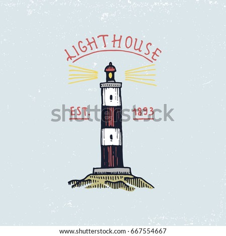 set of engraved vintage, hand drawn, old, labels or badges for atlantic tidal wave, lighthouse. Marine and nautical or sea, ocean emblems.
