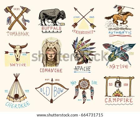 Native American Symbols Set Download Free Vector Art Stock