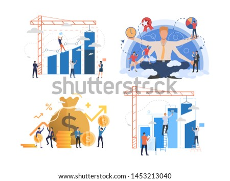 Set of entrepreneurs developing business. Male and female cartoon characters working with financial charts. Vector illustration for presentation, commercial, training