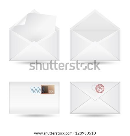 set of envelopes on white background