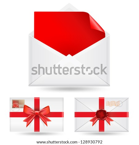 set of  envelopes with ribbons