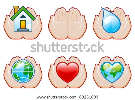 Set of environment conservation icons with human hands. Careful hands and house, drop of eater, globe, heart.