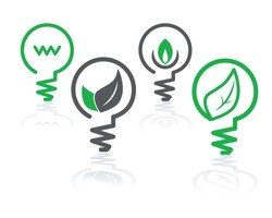 set of environment green icons with light bulbs and leaves