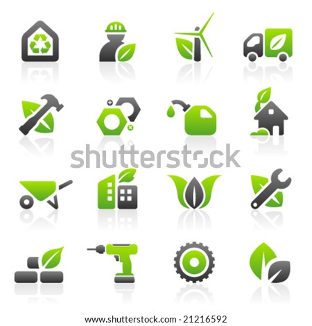 Set of 16 environmental green building and construction icons