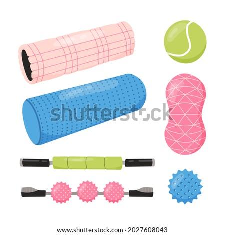 Set of equipment for myofascial release training. Foam roller, tennis ball, spiky trigger point ball, duo ball for neck, massage stick. Vector illustration.