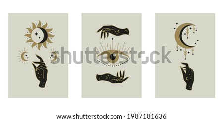 Set of esoteric mystical posters. Sun, moon, hands, eye, gestures. Minimal geometric boho style. Spiritual concept. Design for wallpaper, wall decor, print, card, background. Vector illustration.  Stockfoto ©