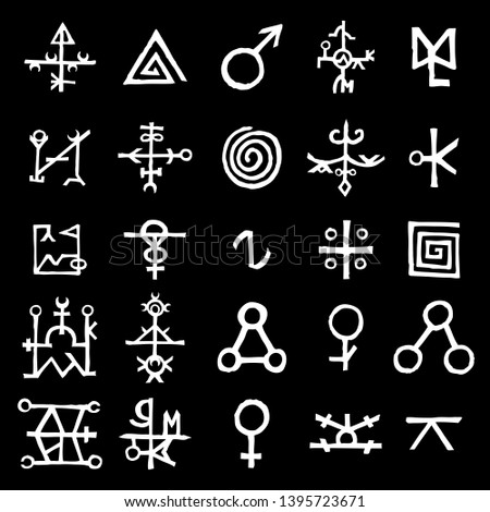 Set of esoteric sacred geometric written symbols. Abstract mystic signs collection. Vector.