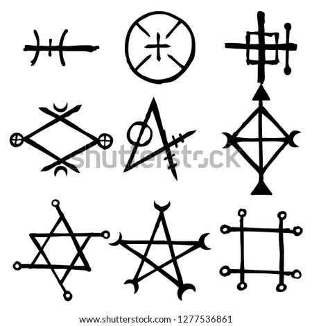 Set of esoteric symbol design elements. Imaginary handwritten alchemy signs, space, spirituality, inspired by mysticism, freemasonry, astrology. Vector .
