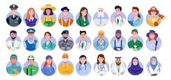 Set of essential workers avatar isolated on white background. vector