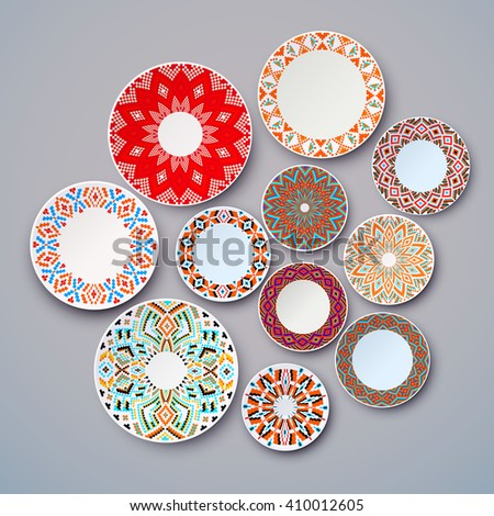set of ethnic dishes  wall with