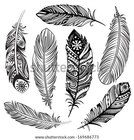 Set of ethnic feathers