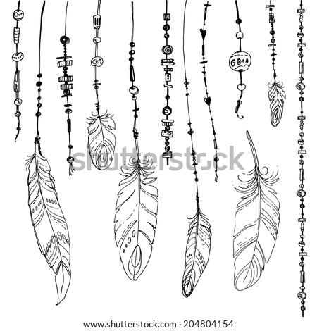 set of ethnic feathers ethnic