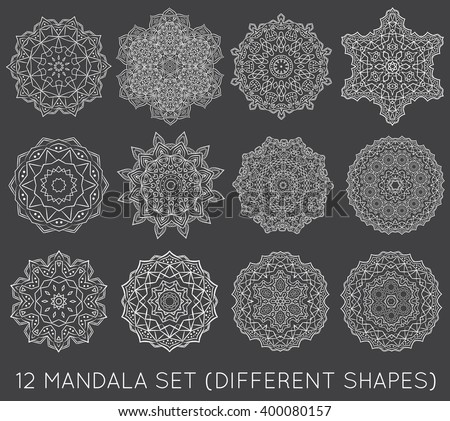 set of ethnic fractal mandala