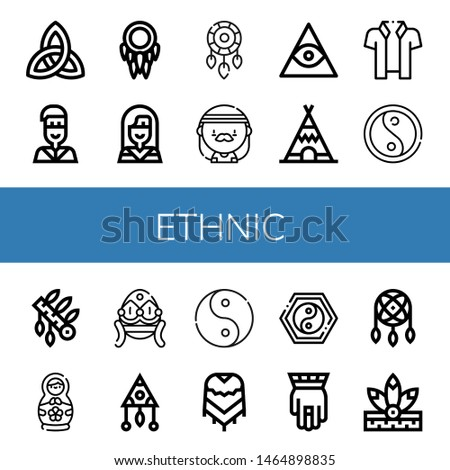 Set of ethnic icons such as Paganism, Native american, Dreamcatcher, Hippie, Freemasonry, Teepee, Hawaiian, Yin yang, Headdress, Matryoshka doll, Faberge, Ying yang, Poncho , ethnic