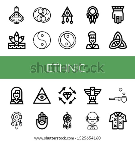 Set of ethnic icons. Such as Regional dance, Native american, Yin yang, Ying yang, Dreamcatcher, Hamsa, Paganism, Freemasonry, Boho, Totem, Hippie, Pipe of peace , ethnic icons