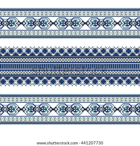 Set of Ethnic ornament pattern in blue colors. Vector illustration. From collection of Slavic ornaments #441207730
