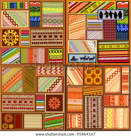 set of ethnic patterns of northern peoples - stock vector