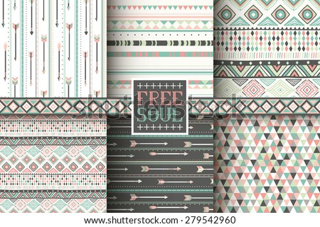 Set of 6 ethnic seamless patterns. Tribal geometric background. Stylish trendy fabric. Modern abstract wallpaper. Vector illustration.