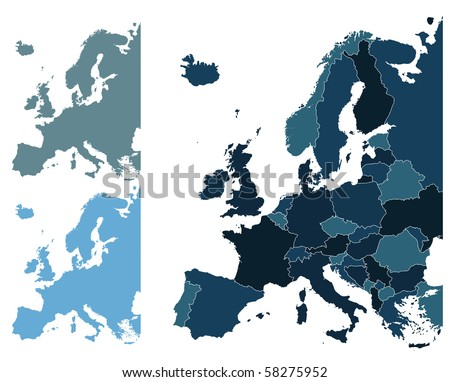 Set of Europe vector highly detailed maps