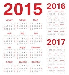 Set of european 2015, 2016, 2017 vector calendars. Week starts from Sunday.