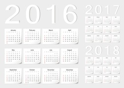 Set of European 2016, 2017, 2018 vector calendars with shadow angles. Week starts from Sunday.