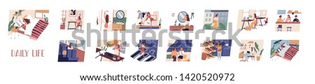 Set of everyday leisure and work activities performing by young woman. Bundle of daily life scenes. Girl sleeping, eating, working, doing sports, grocery shopping. Flat cartoon vector illustration.