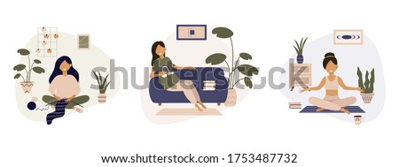 Set of everyday routine of modern housewife. Bundle of daily life scenes. Girl knitting, doing exercises and yoga, relaxing. Work, leisure and hobby on isolation. Flat cartoon vector illustration. Stock photo ©