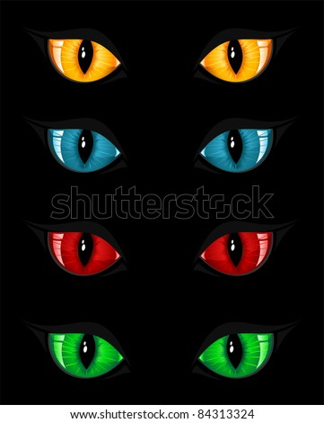 Set of evil eyes on black background, illustration